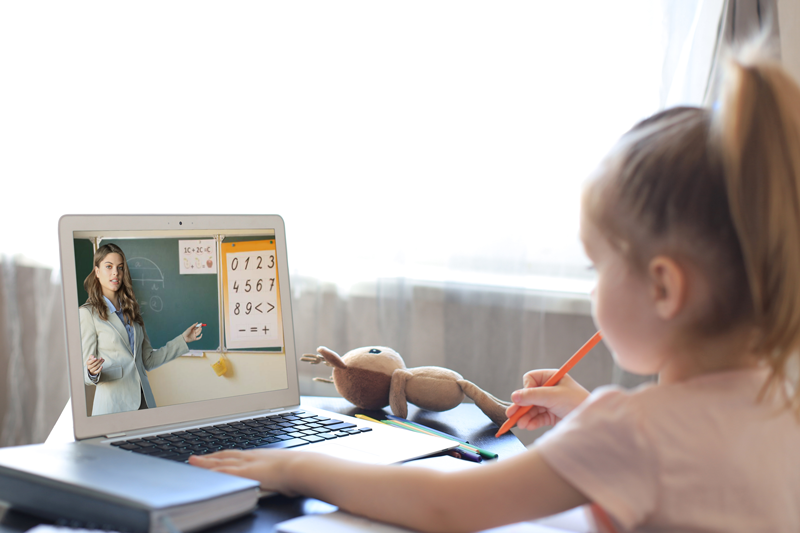 Child Learning on Computer while at home